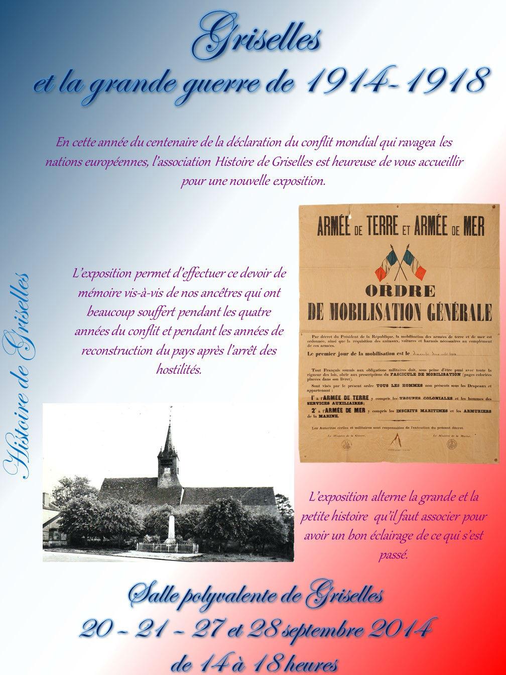 Affiche Exposition Griselles et la guerre de1914-1918