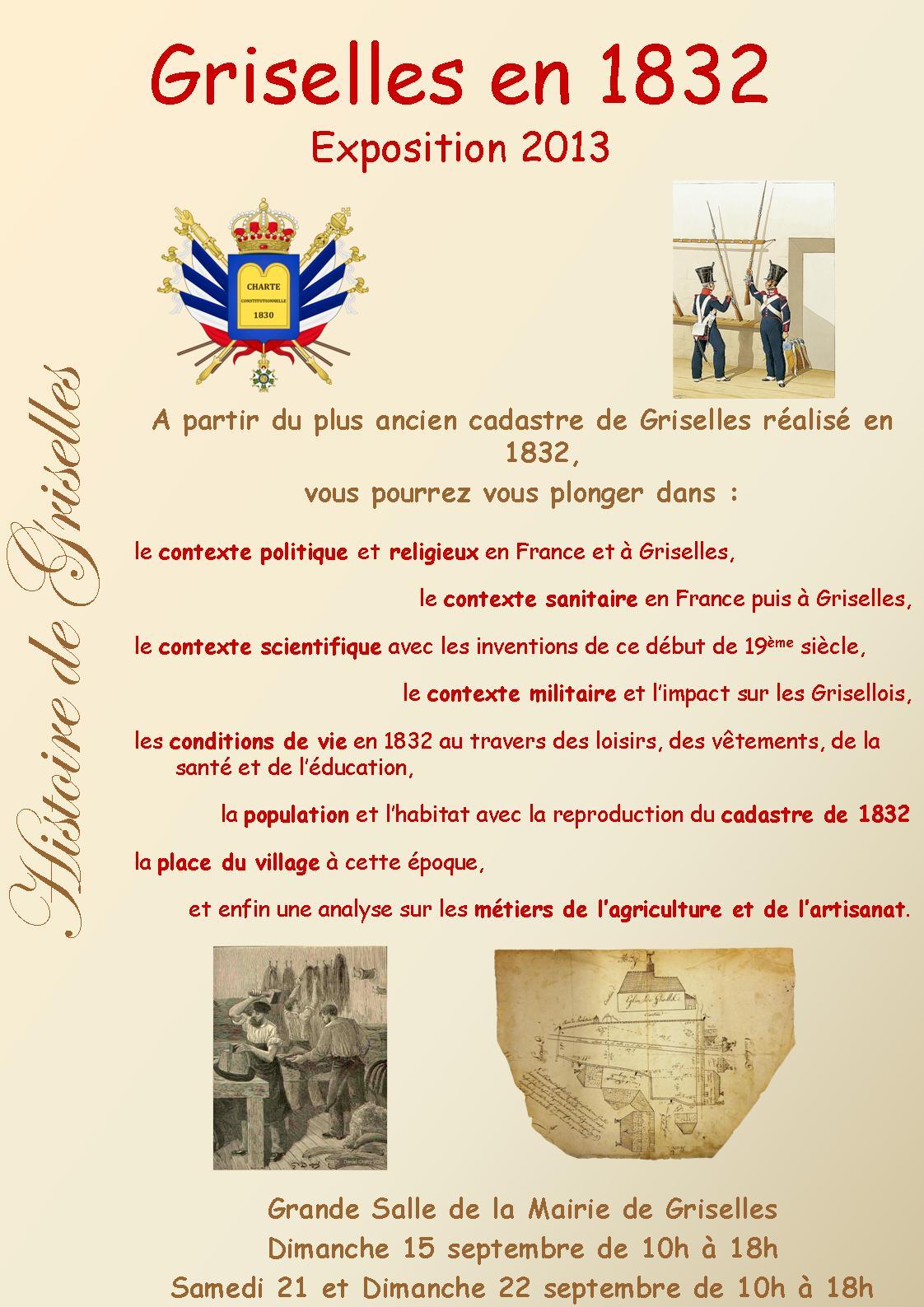 Exposition 2013 - Journées du Patrimoine - Griselles en 1832