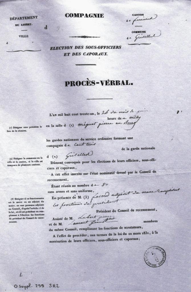 Election des officiers de la Garde Nationale de Griselles