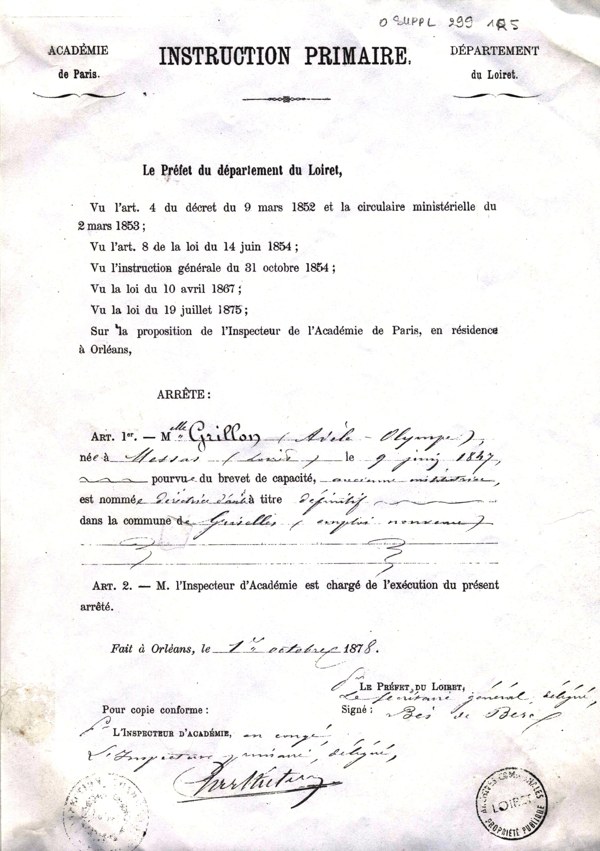 Nomination d'une institutrice de l'école des filles de Griselles en 1878